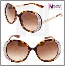 Jimmy Choo Millie Brown Tortoise Gold Snakeskin Leather Oval Sunglasses MILLIE/S - $222.75