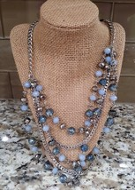 Simply Vera Vera Wang Blue Beaded Silver Plated Layered Necklace  - $18.50