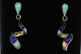 Vintage (ca. 1980's) 14K Yellow Gold Turquoise Onyx Lapis Opal Earrings - $585.00