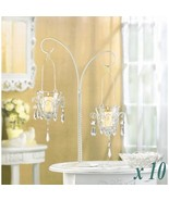 Lot of 10 MINI CHANDELIER VOTIVE STAND Jeweled Hanging Candle Holder Cen... - $172.95