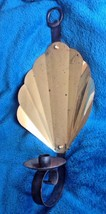 Vtg shell Brass gold tone iron Wall Sconce Mid Century Candle holder can... - $39.59