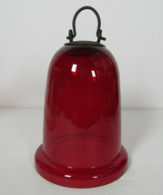 Ruby Red Glass Candle Cover Lantern or Bell w/ Hanger - $14.84