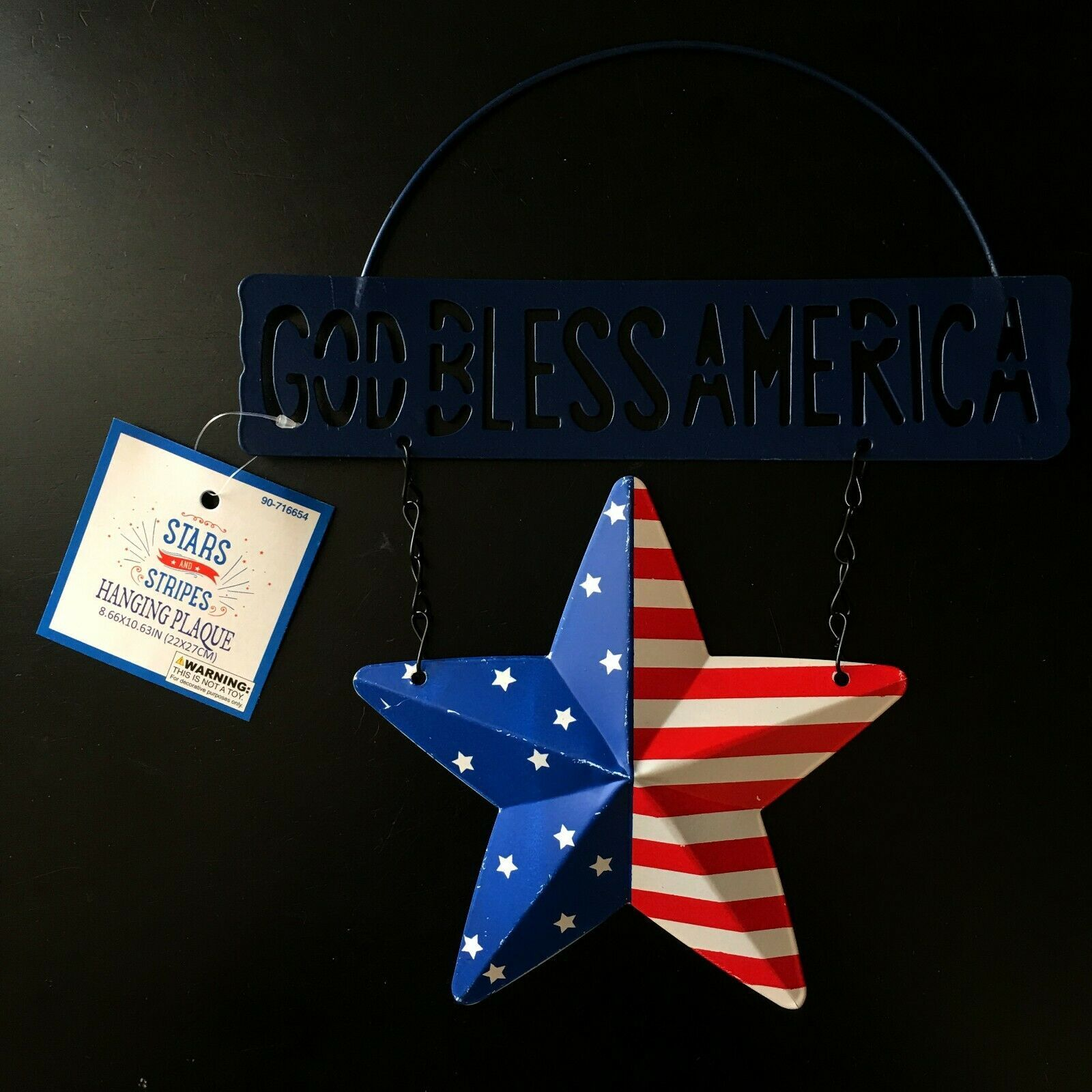 """MB* 8.66x10.63"""" HANGING PLAQUE Stars+Stripes GOD BLESS AMERICA+STAR 4th Of July"""
