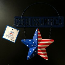 "MB* 8.66x10.63"" HANGING PLAQUE Stars+Stripes GOD BLESS AMERICA+STAR 4th ... - $8.99"