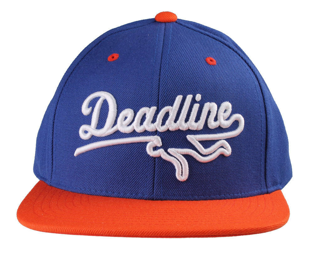 Deadline Blue Orange Sports Logo Snapback Hat O/S Wool Blend Baseball Cap