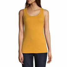 St. John's Bay Women's Scoop Neck Tank Top Size X-Large Zinnia Gold 100% Cotton  - $11.87