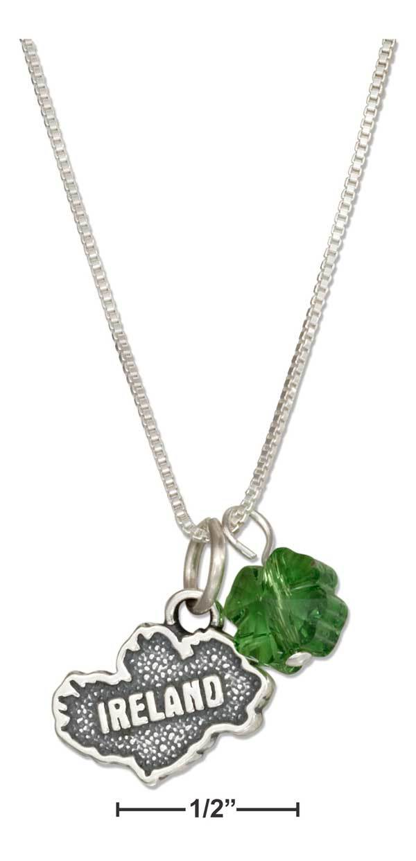 "STERLING SILVER 18"" IRELAND MAP PENDANT NECKLACE WITH FOUR LEAF CLOVER CRYSTAL"