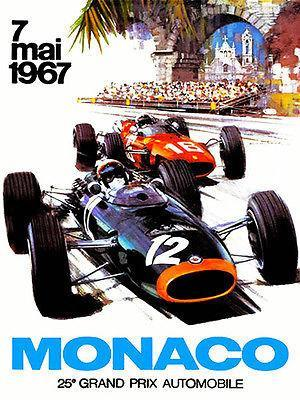 Primary image for 1967 Monaco Grand Prix Race - Promotional Advertising Poster