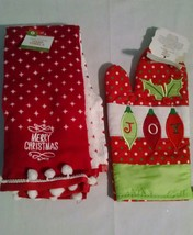 Christmas Kitchen Towels Oven Mit Set Red Green Pom Poms Joy Merry Chris... - $7.78