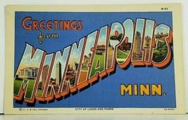 MN MINNEAPOLIS MINNESOTA Large Letter Greeting c1940 Postcard A2 - $6.95