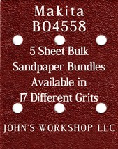 Makita BO4558 - 1/4 Sheet - 17 Grits - No-Slip - 5 Sandpaper Bulk Bundles - $7.14