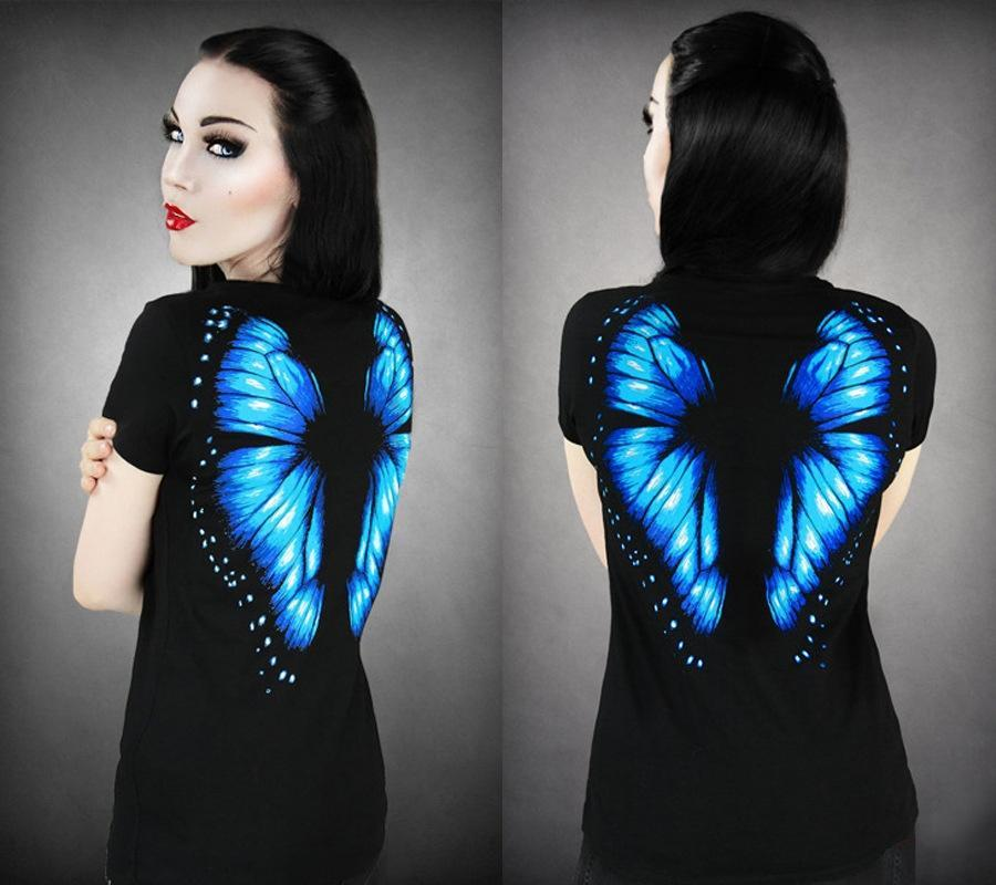 2015 Summer Hot Sale Fashion Women Black Short Sleeved Top Slim Blue Butterfly P