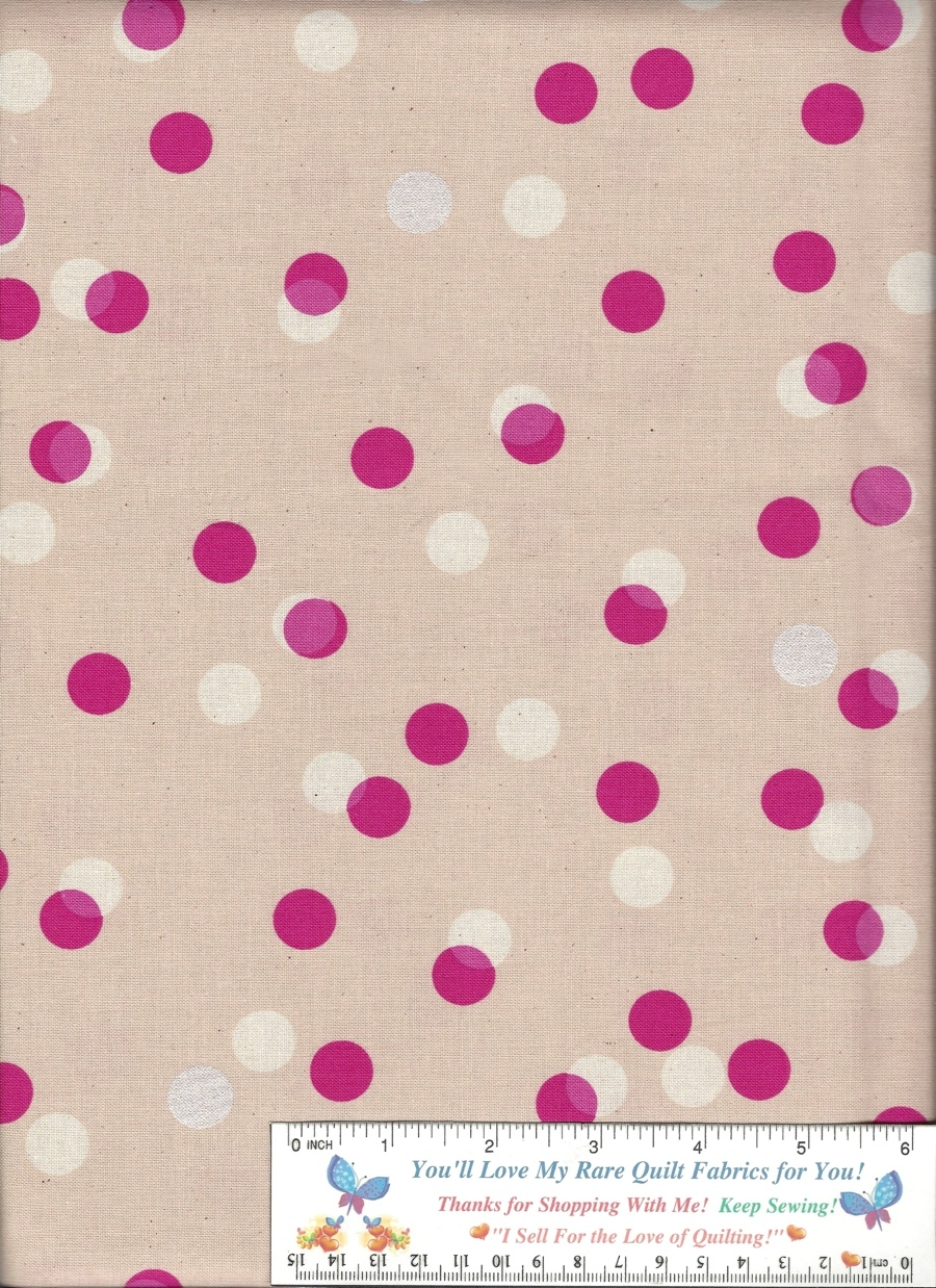 1 Yd Cute for Backing, RJR Pink, White Dots,Natural Muslin, Quilt Cotton Fabric