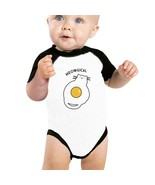 Meowgical Cat And Fried Egg Baby Black And White Baseball Shirt - $15.99