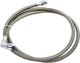 """48"""" Steel Braided Turbo Oil Feed Line -4AN 90 Degree Straight Ends Teflon Core image 2"""