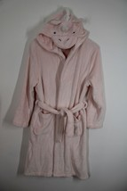 Pottery Barn Kids 10-12 Pink Fleece Unicorn Hood Bath Robe Belted - $28.49