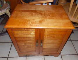 Mid Century Solid Maple Record Cabinet - $399.00