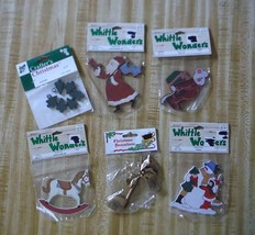 6 christmas crafts items Santa mouse rocking horse snowman music note trees - $3.35