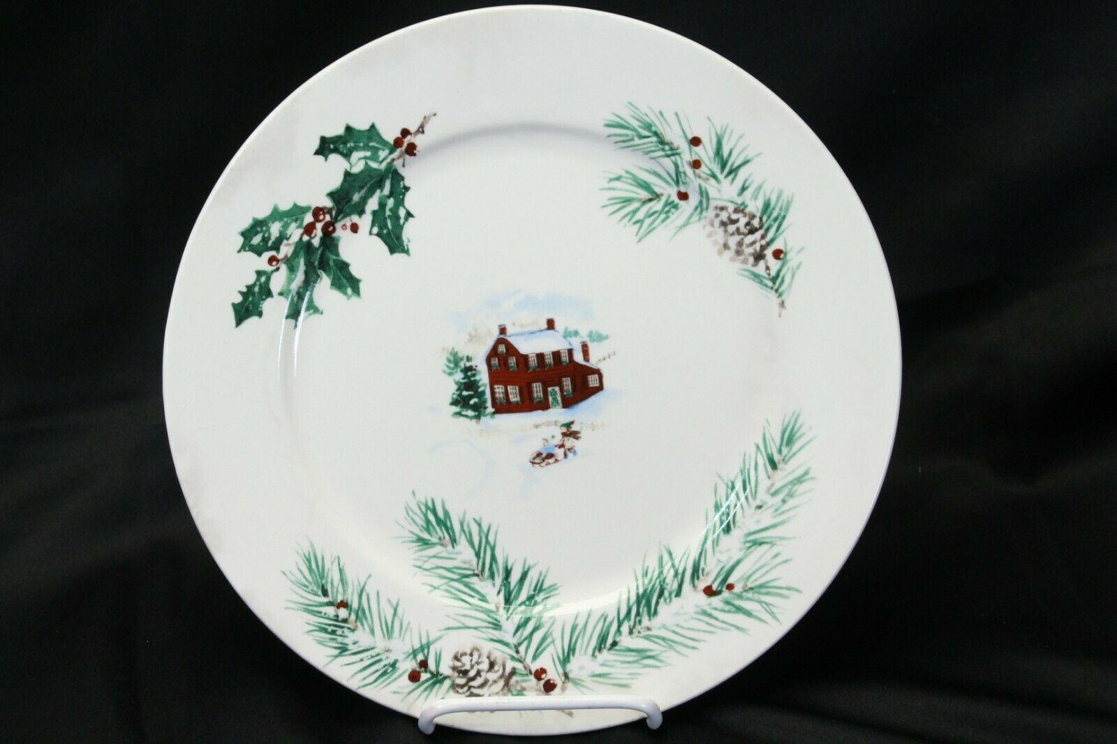 """Farberware White Christmas 2118 Dinner Plates 10.5"""" Lot of 8 image 2"""