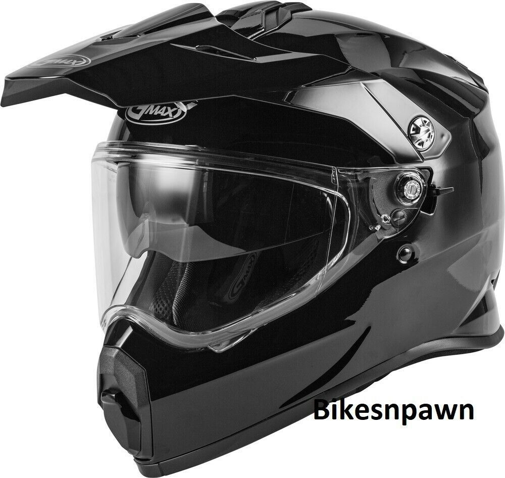 New Adult XS Gmax AT-21 Gloss Black Adventure Offroad Helmet DOT/ECE