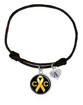 Custom Childhood Cancer Awareness Black Leather Unisex Bracelet Jewelry Charm - $13.94