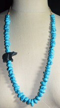 VTG Silver Tone Blue Turquoise Polished Bead Shell Carved Bear Necklace ... - $346.50