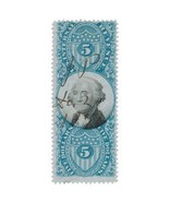 R127 $5 Second Issue, Blue & Black, George Washington, USA Revenue Stamp... - $28.99