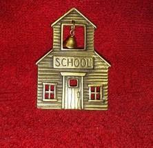 Vintage JJ Jonette signed Schoolhouse brooch/pin brass? dangling school ... - $4.99