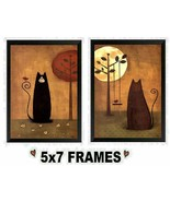 5x7 Primitive Cat Pictures Cats sitting Beneath the Moon Rustic Wall Ha... - $8.99+