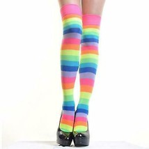 Angelina 12 Pair Dozen Women's Thigh High Socks Neon Rainbow Striped 6753A