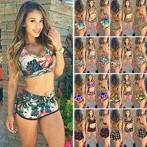 Womens Floral Bikini Set Crop Top High Waist Short Summer Bathing Suit Swimsuit image 2
