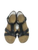 Naturalizer Womens Size 7.5 M Leather Black Sandals Hook Eye - $19.80