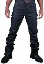 Hawke & Dumar Men's Raw Dark Blue Indigo Slim Straight Fit Jeans NWT