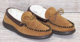 L.B. EVANS mens Slippers 11 Brown Leather Slip On Shoes Faux Sherpa Mocc... - $29.95 CAD