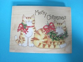 Larger Rubber Stamp Merry Christmas Cats Kittens 4 1/2 Inch Stamps Happen T29 - $22.28