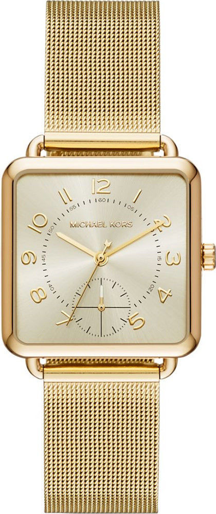 fcb106c6b040 57. 57. Previous. NWT Michael Kors Women s Quartz Stainless Steel Casual  Watch Gold MK3663 Square