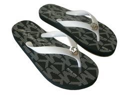 New Michael Kors MK Charm Logo Flip Flops Shoes Size 7 Black & White San... - $49.49
