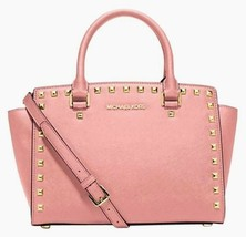 Michael Kors Selma Stud Pale Pink Saffiano Leather Crossbody Satchel Bag Nwt - $242.30