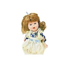 Collector's Porcelain Doll Girl Brown Hair Blue Eyes Lace Dress Collecti... - $14.84