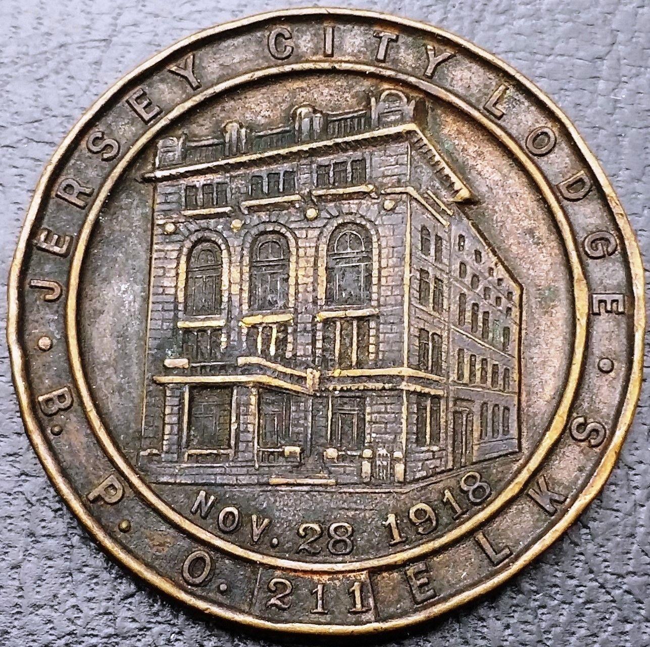 1918 BPOE Elks Lodge Jersey City Fraternal Order Medal - Alfred Schickerling NYC