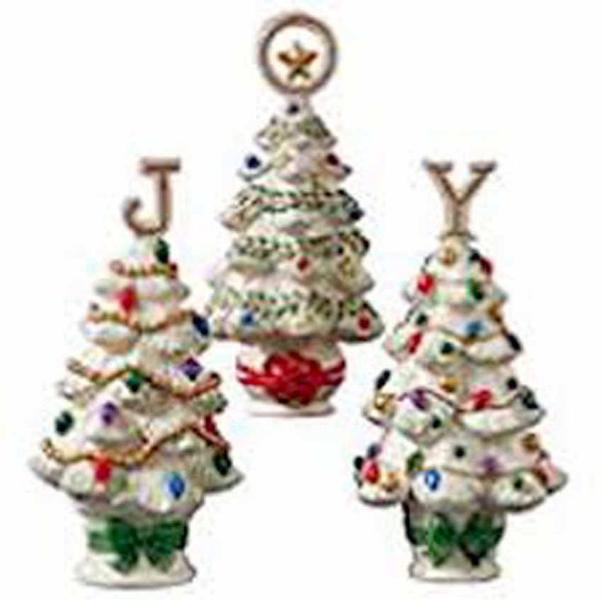 """Lenox Christmas Joy Set of 3 Tree Sculptures Together They Spell Out """"JOY"""" New image 2"""