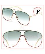 GUCCI GLASANT 0440 Gold Green Stripe Aviator Metal Retro Sunglasses GG04... - $233.89