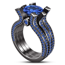 Round Cut Blue Sapphire 14k Black Gold Plated 925 Silver Ladies Wedding Ring Set - $137.96