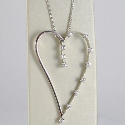 18K WHITE GOLD NECKLACE, BIG HEART PENDANT, 0.44 CARATS DIAMONDS, EAR CHAIN