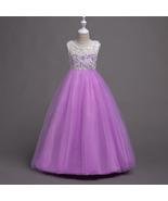 Flared Lavender Color Tulle Lace Full Length Party Gown for Girls - $48.99+