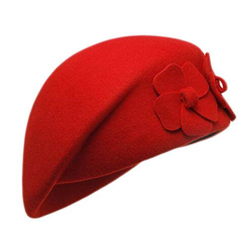 Primary image for George Jimmy British Style Hat Female Fashion Retro Double Flower Stewardess Ber