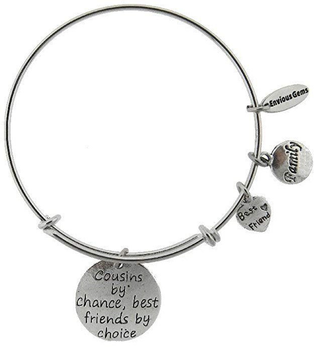 Cousins By Chance Best Friends By Choice Silver Tone Expandable Wire Bracelet