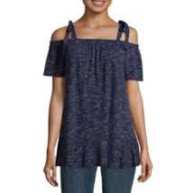 a.n.a. Sleeveless Straight Neck Knit Blouse American Navy Small Shoulder... - $19.79