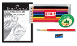 Faber-Castell 15 Piece Watercolor Pencil Paper Art Set for Beginners Ages 9+ NEW image 3