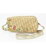 Auth CHRISTIAN DIOR Beige Trotter Canvas and Leather Flower Shoulder Bag... - $279.00